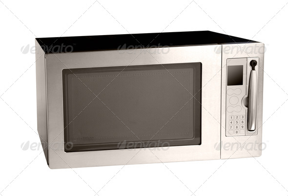 microwave oven oven shot over white - Stock Photo - Images