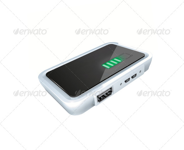 mini portable hdd on white background - Stock Photo - Images