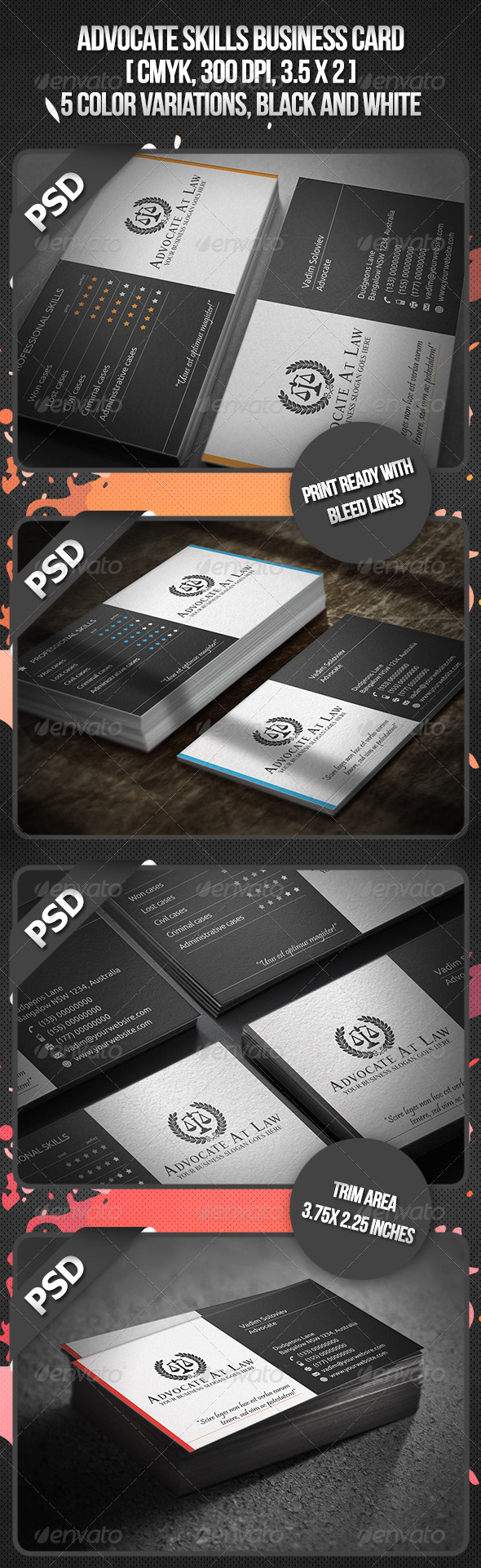 Advocate Skills Business Card - Industry Specific Business Cards