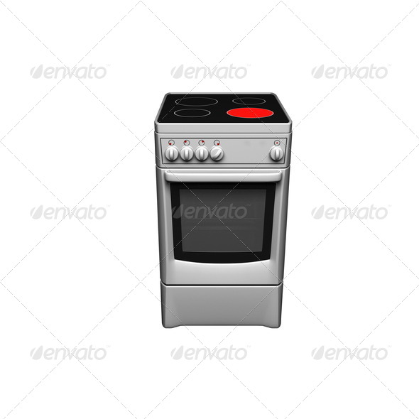 Silver free standing cooker. - Stock Photo - Images
