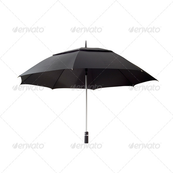 Black umbrella with clipping path - Stock Photo - Images