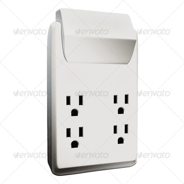 Isolated, multiple electric socket adapter making faces - Stock Photo - Images