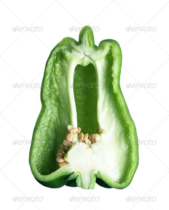 Cross section of green pepper isolated on white - Stock Photo - Images