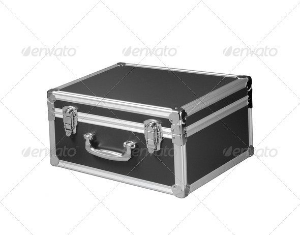 silver chromed make up box on white background - Stock Photo - Images