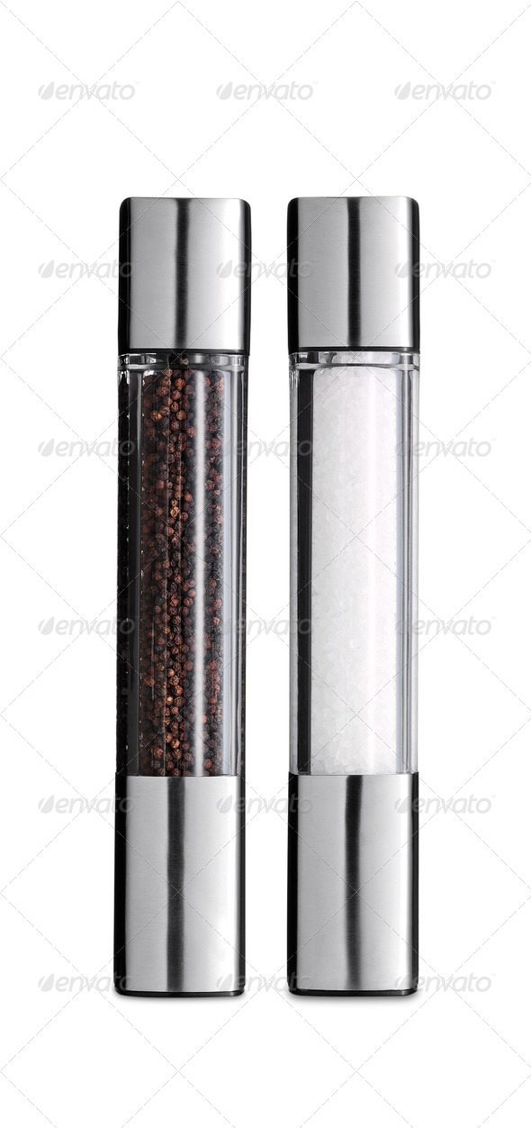Glass salt and pepper shakers isolated - Stock Photo - Images