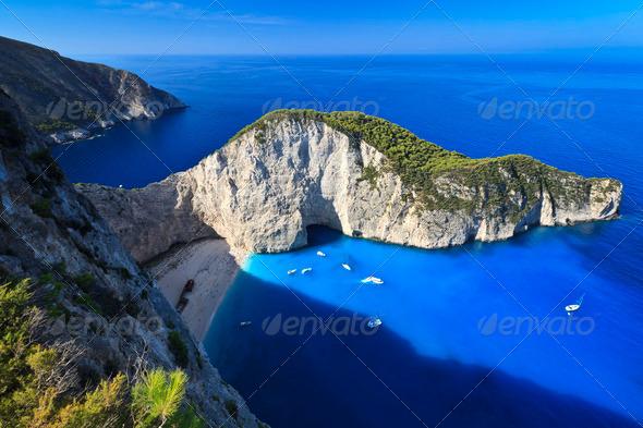 Navagio beach in Zakynthos, Greece   - Stock Photo - Images