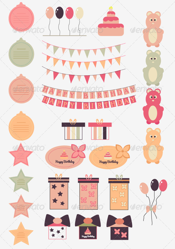 Happy Birthday Vector Set - Birthdays Seasons/Holidays
