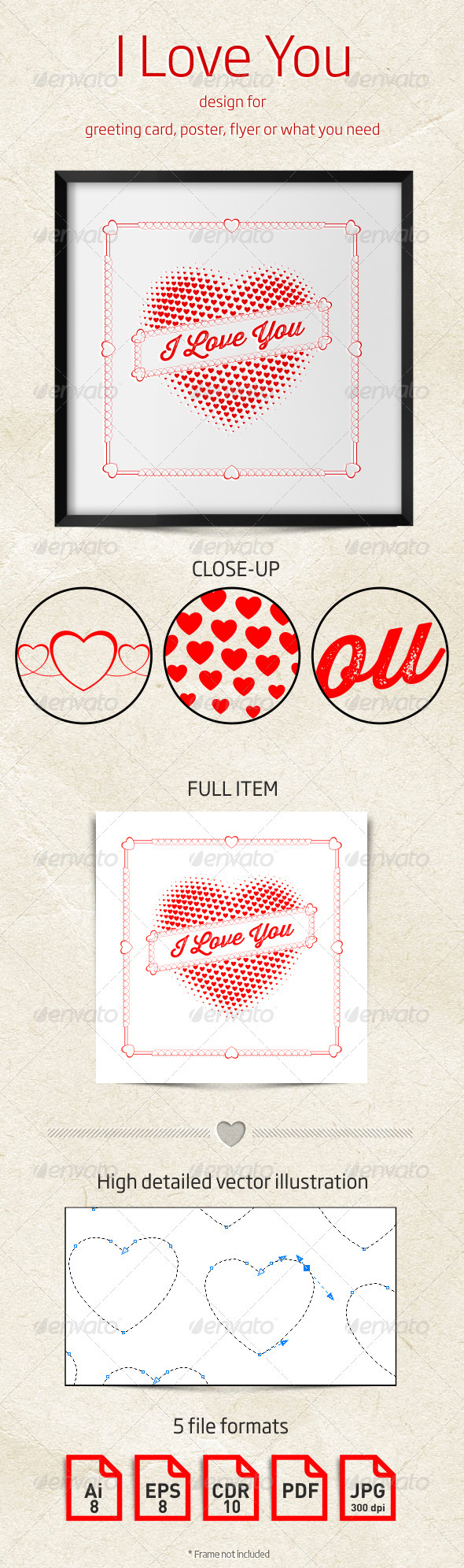 I Love You Design for Greeting Card or Poster - Valentines Seasons/Holidays