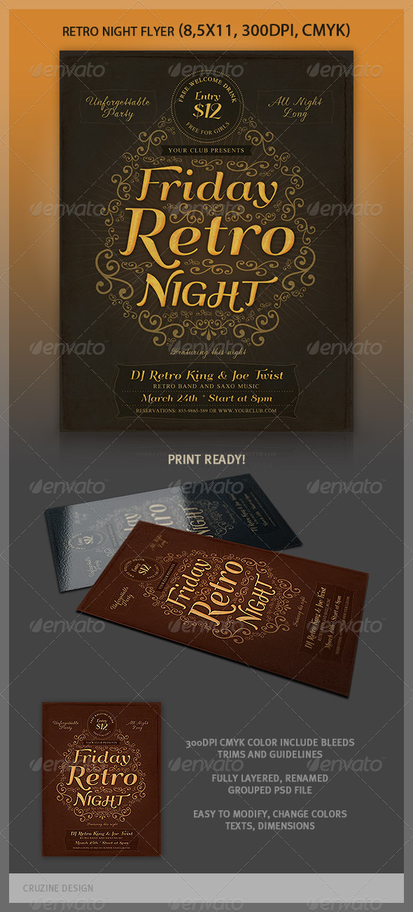 Typographic Retro Flyer Template - Events Flyers