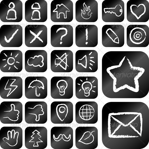 Icon - Chalk Drawing Style - Web Elements Vectors