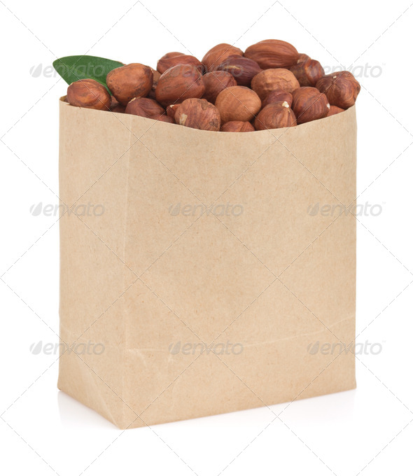 nuts hazelnut on white - Stock Photo - Images