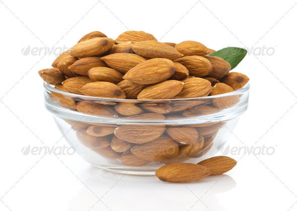 nuts almond on white background - Stock Photo - Images