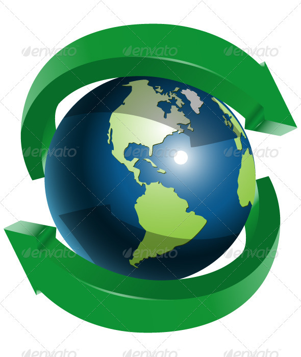 Globe and Two Green Arrows - Web Elements Vectors