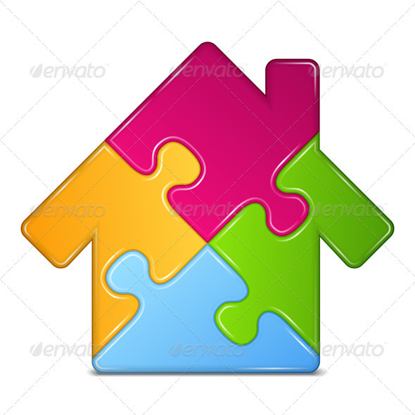 Puzzle House - Web Elements Vectors