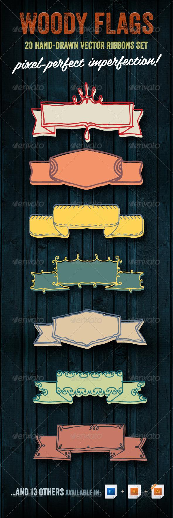 Woody Flags | 20 Hand-drawn Vector Ribbons Set - Decorative Symbols Decorative