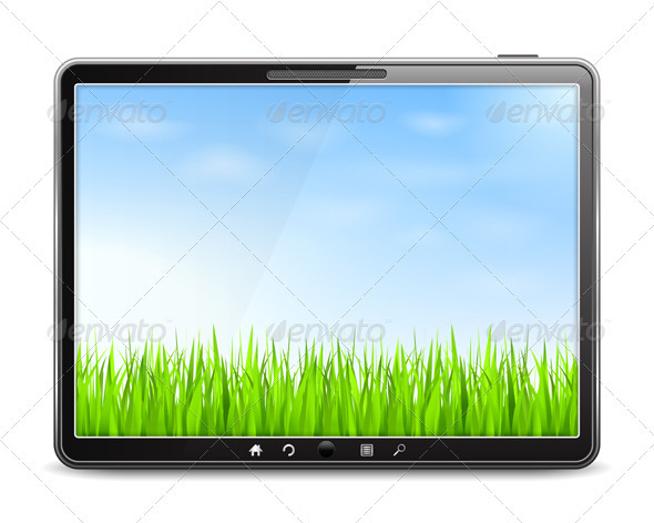 Tablet PC with Green Grass and Blue Sky - Landscapes Nature