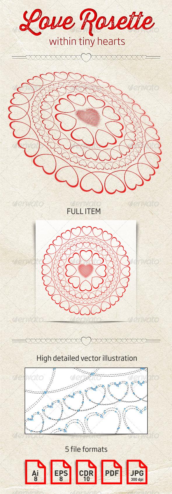 Love Rosette Within Tiny Hearts - Weddings Seasons/Holidays
