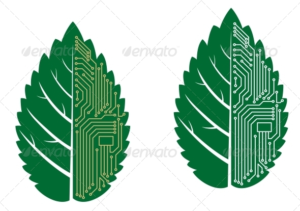Green Leaf with Computer and Motherboard Elements - Computers Technology