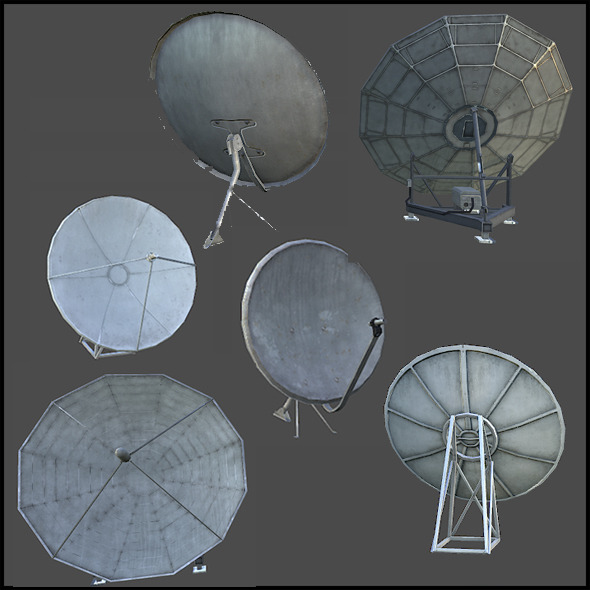Satellite Dish Antenna Set - 3DOcean Item for Sale