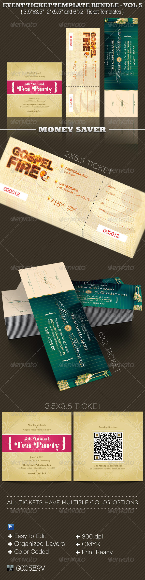 Event Ticket Template Bundle Vol 5 - Miscellaneous Print Templates