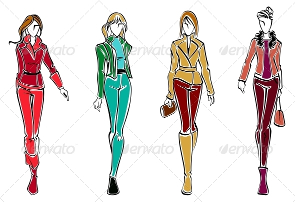 Sketches of Fashion Models - People Characters