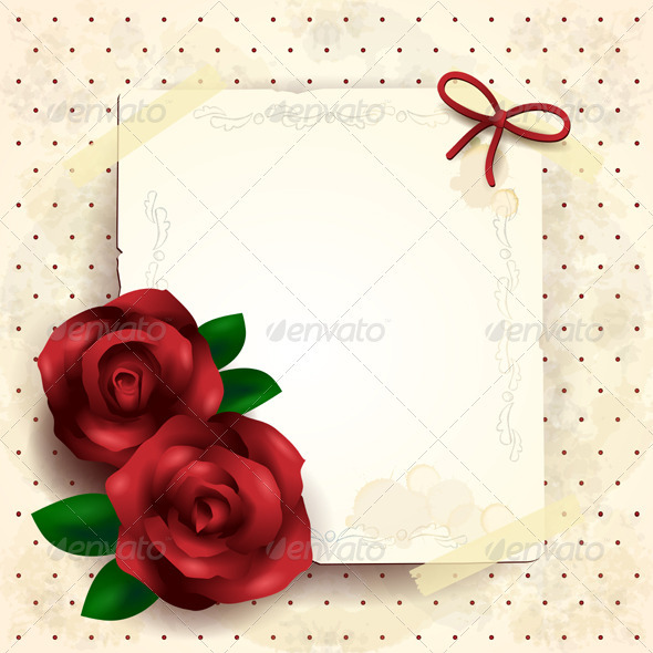Romantic Background with Roses - Valentines Seasons/Holidays