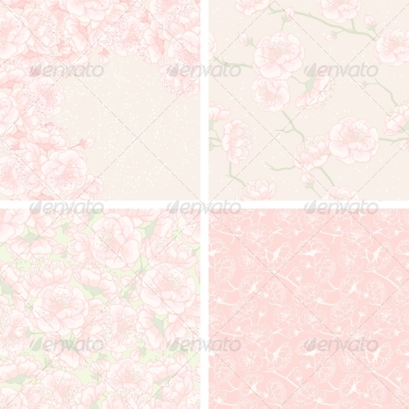 Cherry Blossom Patterns and Backgrounds. - Flowers & Plants Nature