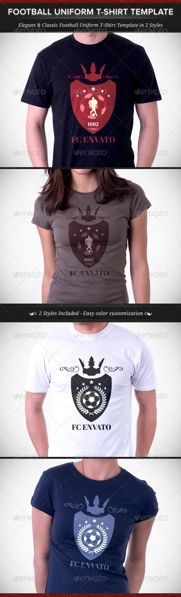 Football Team Uniform T-Shirt Template - Sports & Teams T-Shirts