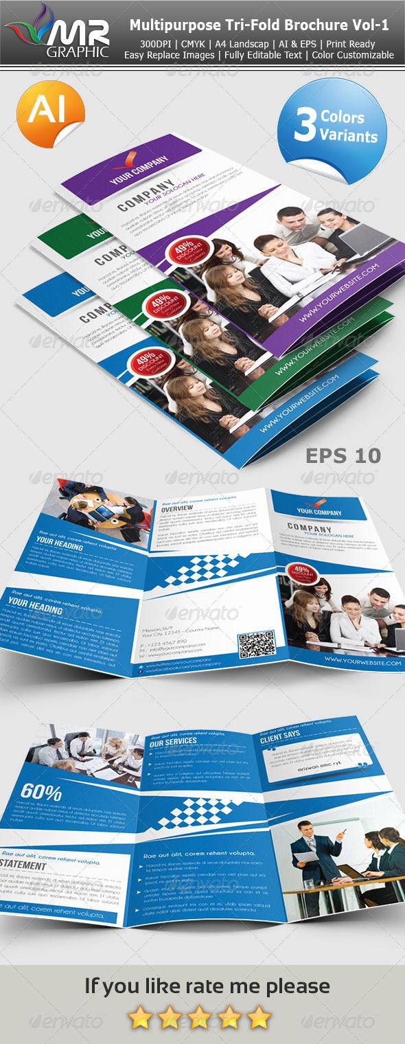 Multipurpose Tri-Fold Brochure Vol-1 - Corporate Brochures