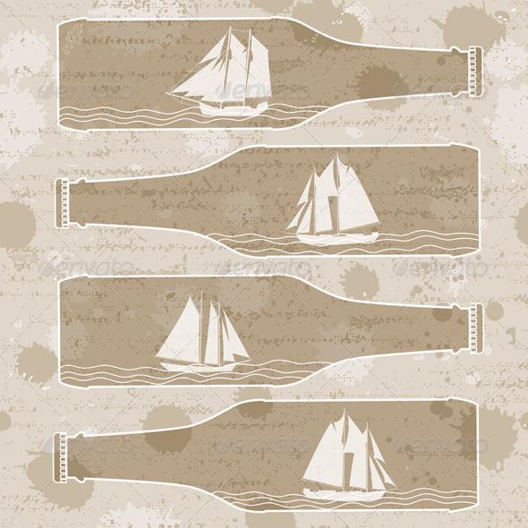 Ships In Bottles - Patterns Decorative