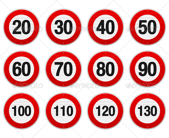 Speed Limit Sign Set - Objects Vectors