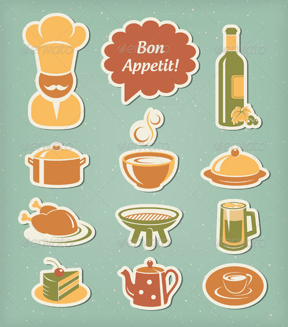 Restaurant Menu Icons Set - Food Objects
