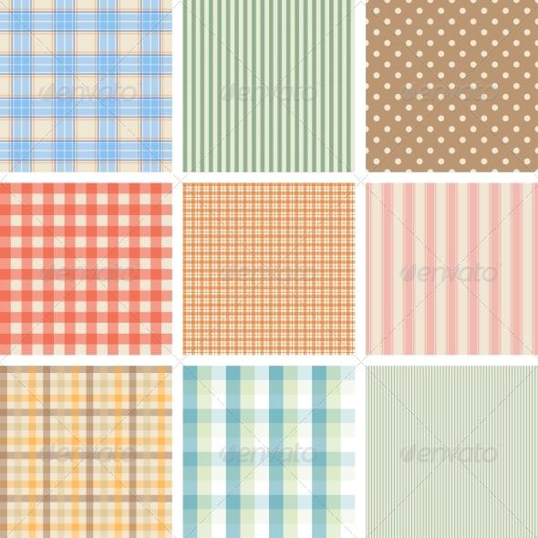 Set of 9 Seamless Abstract Retro Pattern. - Patterns Decorative