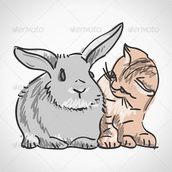 Cat and Rabbit - Animals Characters