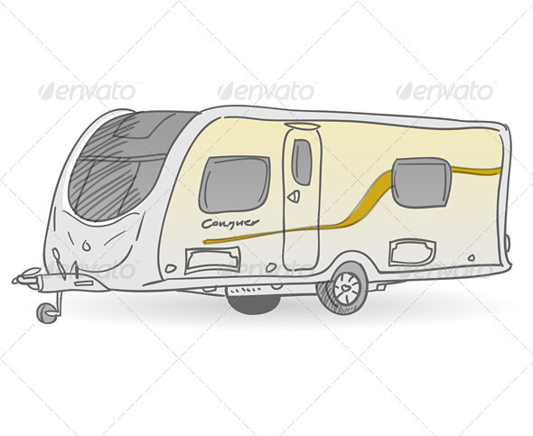 Towing Caravan - Travel Conceptual
