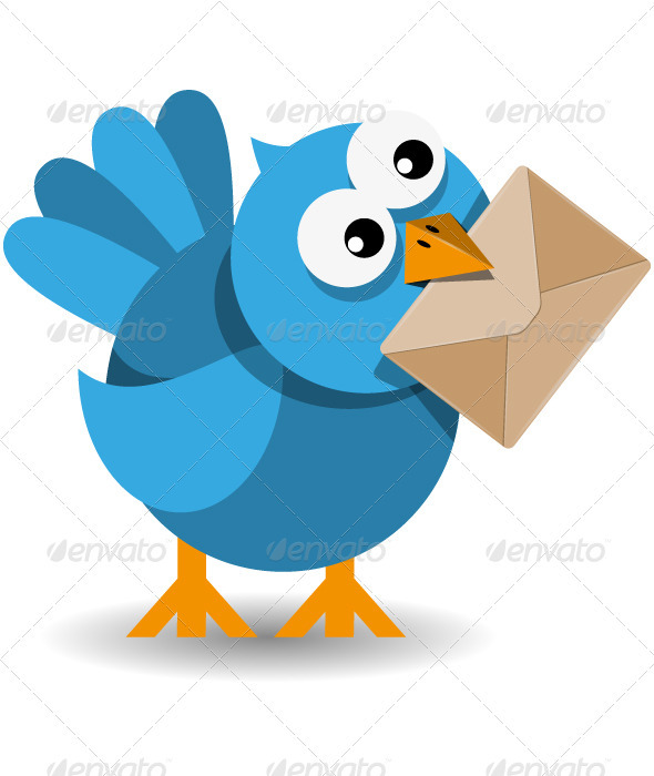 Blue Bird with a Paper Envelope - Animals Characters