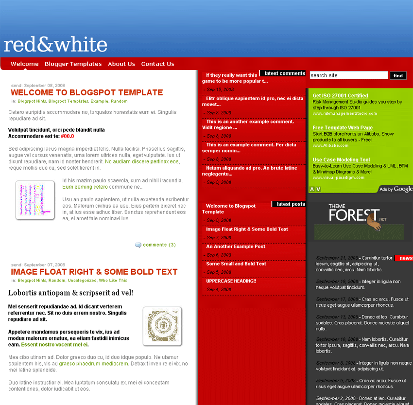 Free Download Red.White Blogspot Template Nulled Latest Version