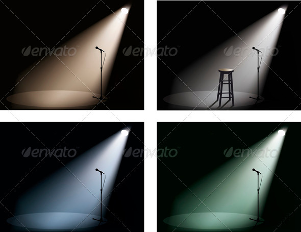 Night Club With Spotlight, Microphone And Chair - Abstract Conceptual