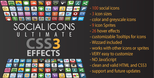 Social Icons - Ultimate CSS3 Effects - CodeCanyon Item for Sale