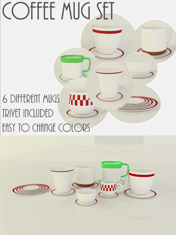 Coffee Mug / Cup Set with Trivets  - 3DOcean Item for Sale