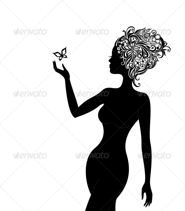 Woman with a Flowers in her Hair - People Characters