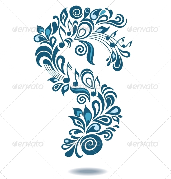 Decorative Musical Floral Illustration - Decorative Symbols Decorative