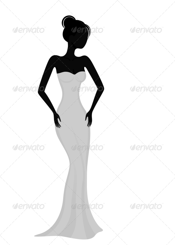 Silhouette of a Girl in White Evening Dress - People Characters