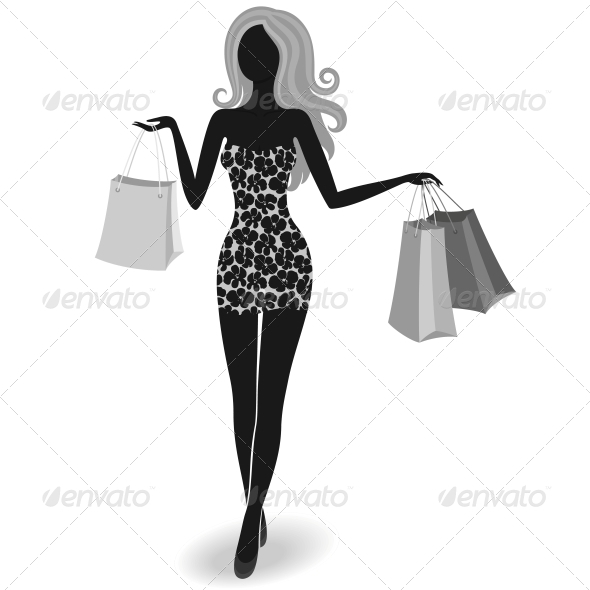 Silhouette of a Shopping Girl - Retail Commercial / Shopping