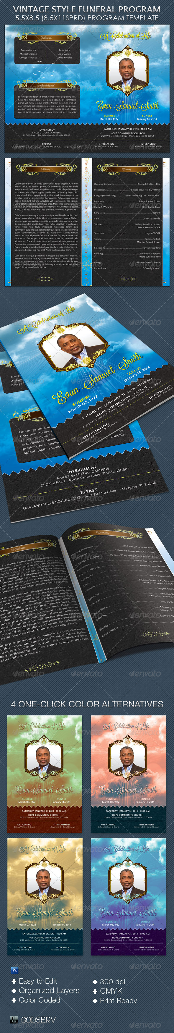 Vintage Style Funeral Program Template - Informational Brochures