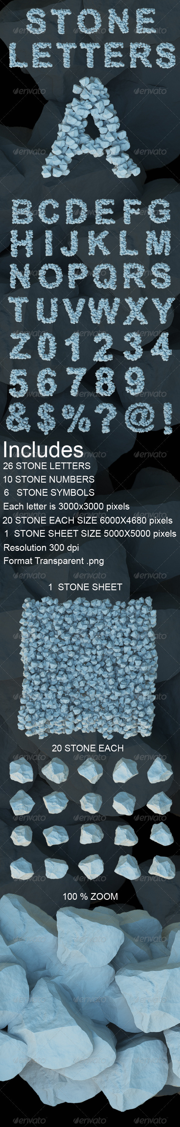 3D Stone Letters - Text 3D Renders