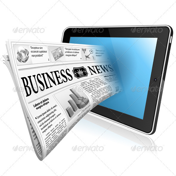 Concept - Digital News witn Newspaper and Tablet P - Concepts Business