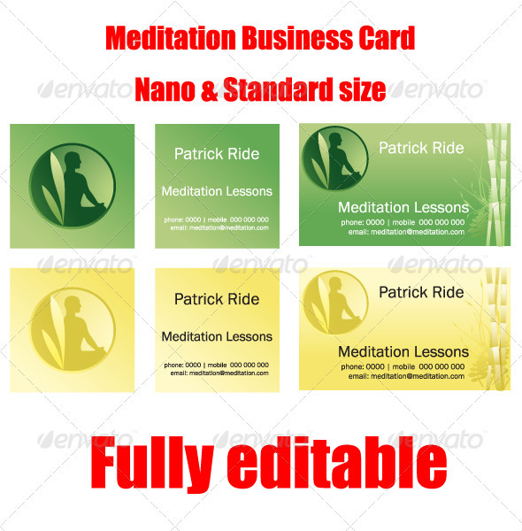 Vector Nano & Standard Meditation Business Card - Health/Medicine Conceptual