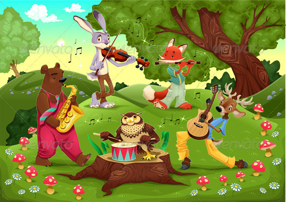 Musicians animals in the wood. - Animals Characters