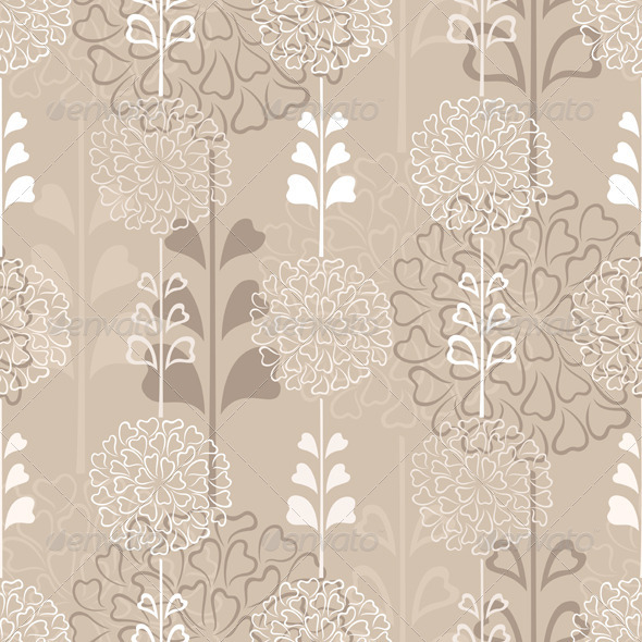 Flower Decorative Seamless Background in Sepia - Patterns Decorative